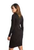 THE MYSTYLEMODE BLACK LONG SLEEVE TURTLENECK BACK ZIPPER MIDI DRESS