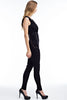THE MYSTYLEMODE BLACK WITH DEEP SIDE LACE UP JUMPSUIT