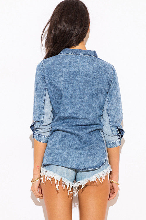 BLUE WASHED DENIM QUARTER SLEEVE BLOUSE TOP