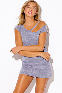 BLUE RIPPED CUT OUT NECKLINE BOYFRIEND TEE TUNIC