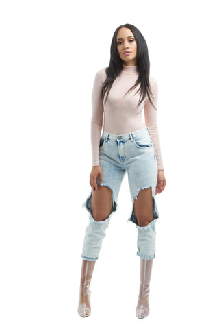 THE MYSTYLEMODE HOOK AND EYE DENIM SHORTS WITH BACK ZIPPER