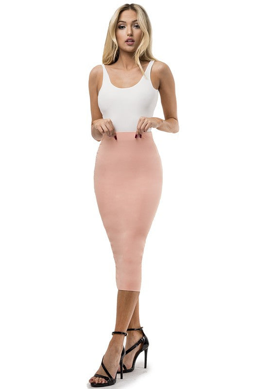 THE MYSTYLEMODE BLUSH ESSENTIAL VENEZIA DOUBLE LINED MIDI SKIRT