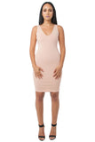 THE MYSTYLEMODE BLUSH LIGHTWEIGHT BANDAGE V NECK MIDI DRESS