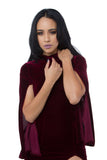 THE MYSTYLEMODE BURGUNDY VELVET HIGH NECK SIDE SLIT BELL ARMS MIDI DRESS