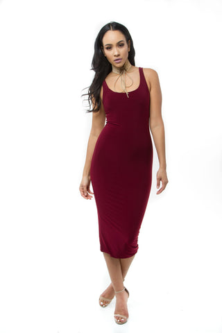 THE MYSTYLEMODE RED ESSENTIAL DOUBLE LINED TANK MIDI DRESS