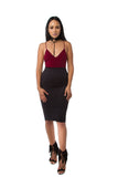THE MYSTYLEMODE BURGUNDY V NECK LOW BACK DOUBLE LINED ESSENTIAL BODYSUIT