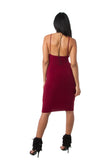 THE MYSTYLEMODE BURGUNDY V NECK LOW BACK DOUBLE LINED ESSENTIAL MIDI DRESS