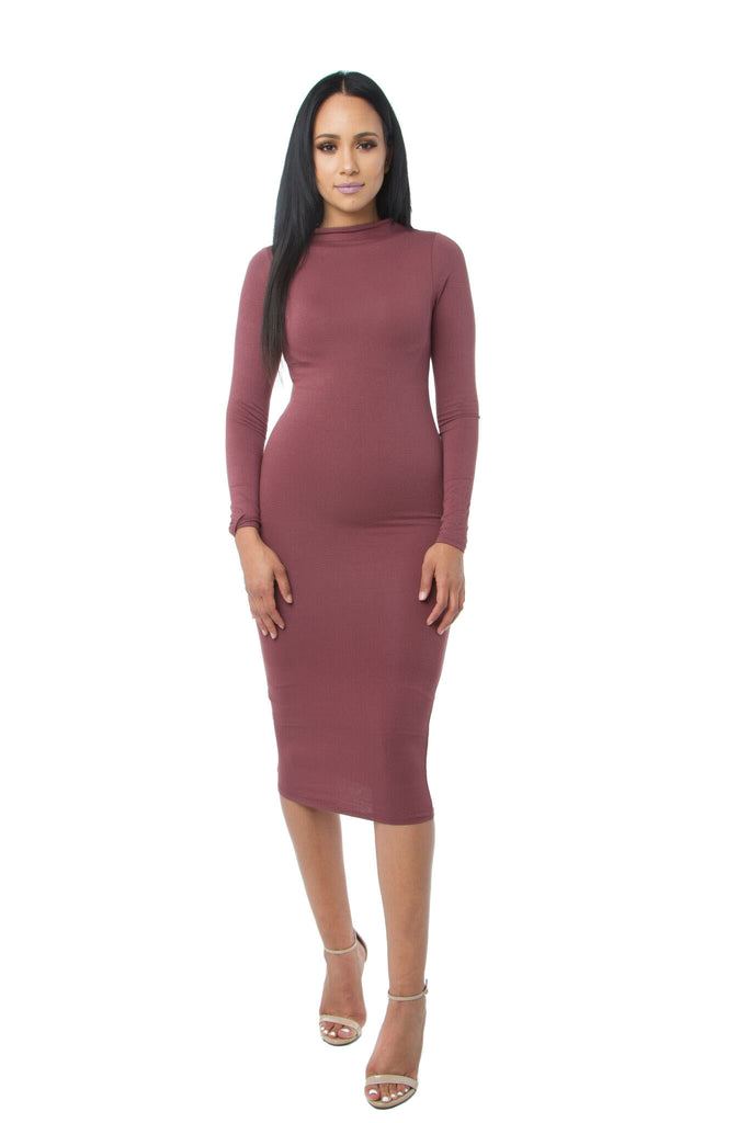 THE MYSTYLEMODE BURNT TOFFEE DOUBLE LINED LONG SLEEVE FUNNEL NECK MIDI DRESS