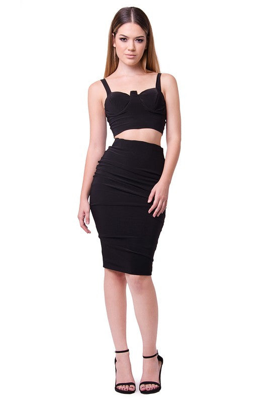 999f6a4f13 THE MYSTYLEMODE BLACK TWO PIECE FITTED BUSTIER CROP TOP AND PENCIL SKI