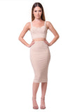 THE MYSTYLEMODE NUDE TWO PIECE FITTED BUSTIER CROP TOP AND PENCIL SKIRT SET