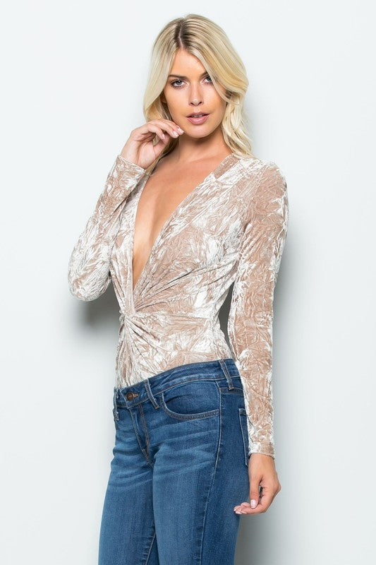 cd3bf7d1cf ... THE MYSTYLEMODE CHAMPAGNE CRUSHED VELVET PLUNGING V NECK LONG SLEEVE  BODYSUIT ...