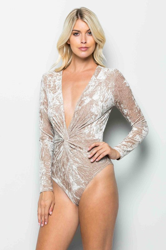 THE MYSTYLEMODE CHAMPAGNE CRUSHED VELVET PLUNGING V NECK LONG SLEEVE BODYSUIT