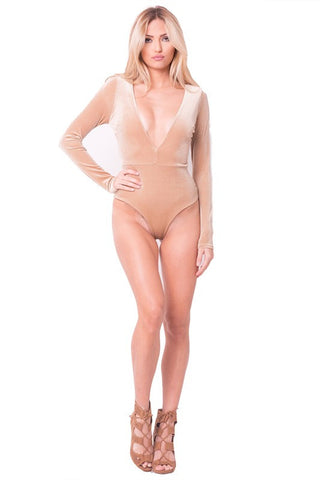 5eea4fab96 THE MYSTYLEMODE CHAMPAGNE VELVET PLUNGING V NECK DOUBLE LINED ESSENTIAL  BODYSUIT