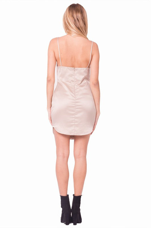 bdef4ac256 THE MYSTYLEMODE CHAMPAGNE DOUBLE LINED V NECK MINI SLIP DRESS