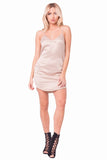 THE MYSTYLEMODE CHAMPAGNE DOUBLE LINED V NECK MINI SLIP DRESS