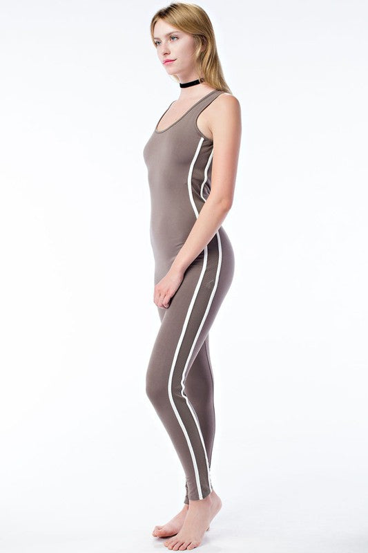 FINAL SALE-THE MYSTYLEMODE MOCHA WITH WHITE STRIPES SIDE MESH JUMPSUIT