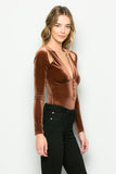 THE MYSTYLEMODE COPPER VELVET PLUNGING V NECK SHOULDER SLIT LONG SLEEVE BODYSUIT