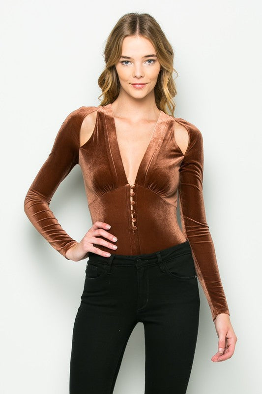 983fdbb844 ... THE MYSTYLEMODE COPPER VELVET PLUNGING V NECK SHOULDER SLIT LONG SLEEVE  BODYSUIT ...