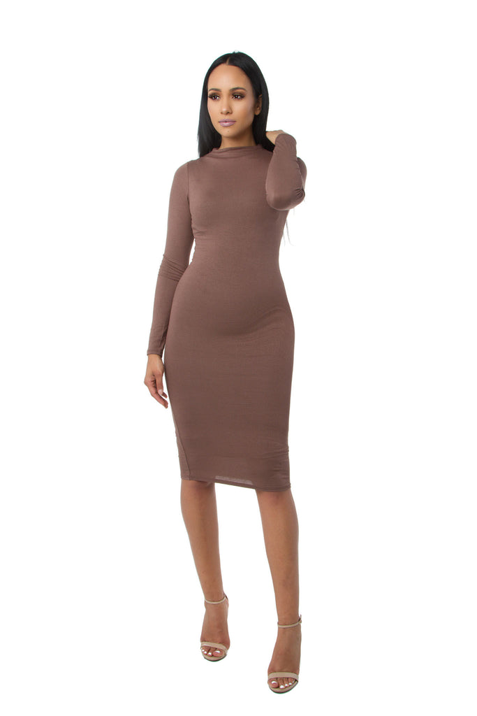 7afcc4389f3 ... THE MYSTYLEMODE DARK MOCHA DOUBLE LINED LONG SLEEVE FUNNEL NECK MIDI  DRESS ...