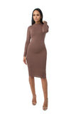 THE MYSTYLEMODE DARK MOCHA DOUBLE LINED LONG SLEEVE FUNNEL NECK MIDI DRESS