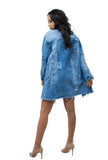 THE MYSTYLEMODE DENIM FRAYED AND DISTRESSED OVERSIZED JEAN JACKET