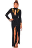 GOLD SEQUIN APPLIQUE CUT OUT SLIT LONG SLEEVE FORMAL EVENING DRESS