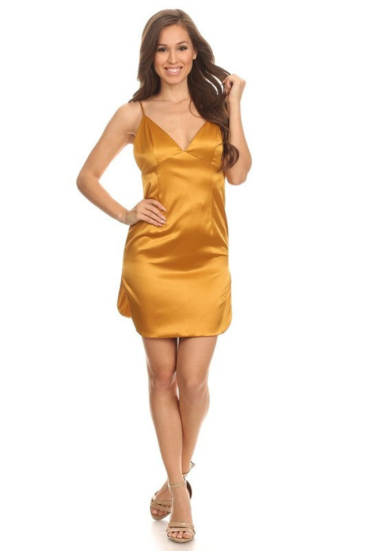 THE MYSTYLEMODE GOLD V NECK SATIN MINI DRESS