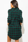 THE MYSTYLEMODE GREEN AND BLACK POCKETED FLANNEL TUNIC DRESS
