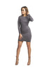 THE MYSTYLEMODE CHARCOAL GRAY LONG SLEEVE DOUBLE LINED SUEDE DRESS