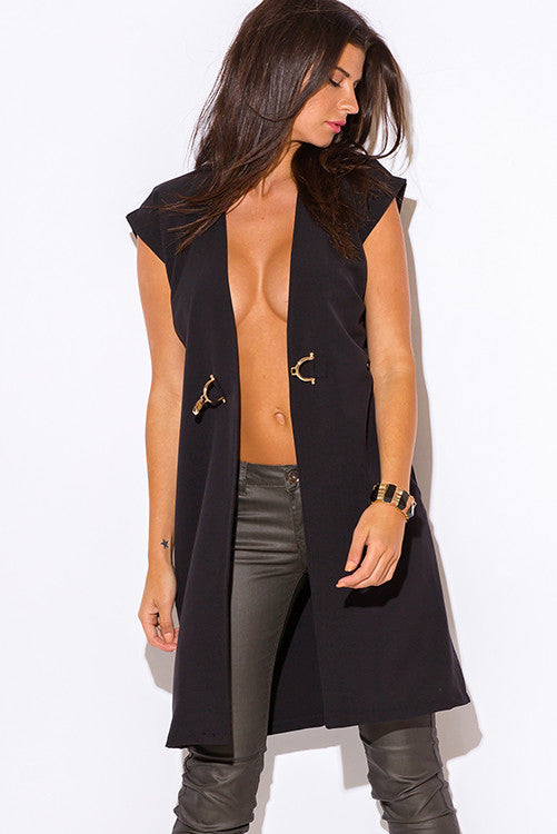 BLACK BUCKLE EMBELLISHED TUNIC BLAZER COAT