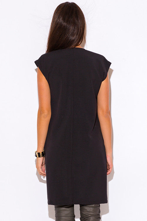 FINAL SALE-BLACK BUCKLE EMBELLISHED TUNIC BLAZER COAT
