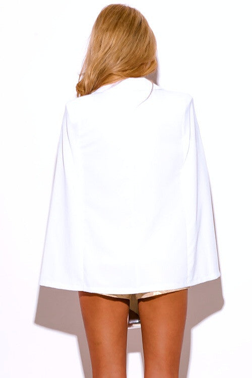 WHITE MILITARY BUTTON CAPE JACKET SUITING BLAZER