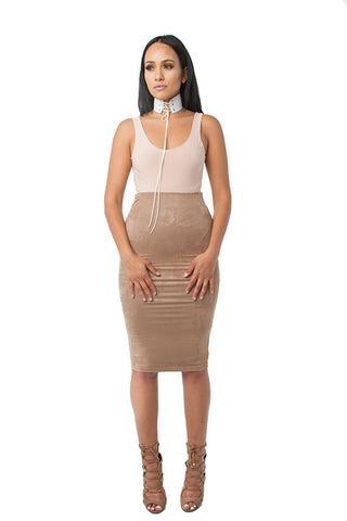 THE MYSTYLEMODE NUDE TANK LOW BACK ESSENTIAL BODYSUIT