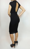 THE MYSTYLEMODE BLACK KEYHOLE CAP SLEEVE FUNNEL NECK DOUBLE LINED BODYCON MIDI DRESS