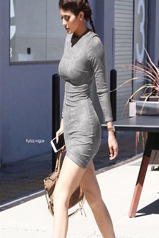 THE MYSTYLEMODE TAUPE KNIT RIBBED SPAGHETTI STRAP MIDI DRESS