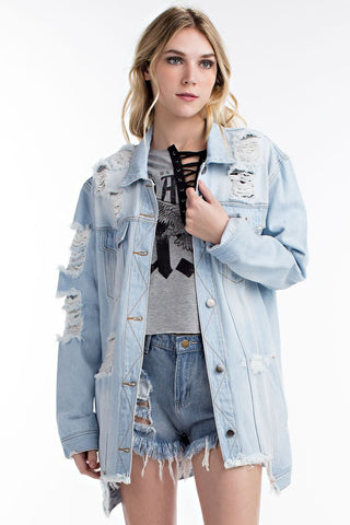THE MYSTYLEMODE BLACK DENIM RAW EDGE CROPPED JEAN JACKET