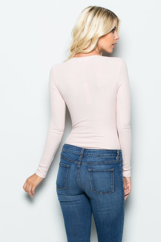 THE MYSTYLEMODE LIGHT PINK RIBBED PLUNGING V NECK LONG SLEEVE BODYSUIT