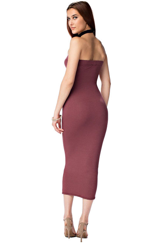 THE MYSTYLEMODE MAROON DOUBLE LINED STRAPLESS MIDI DRESS