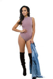THE MYSTYLEMODE MAUVE MOCK NECK ESSENTIAL BODYSUIT