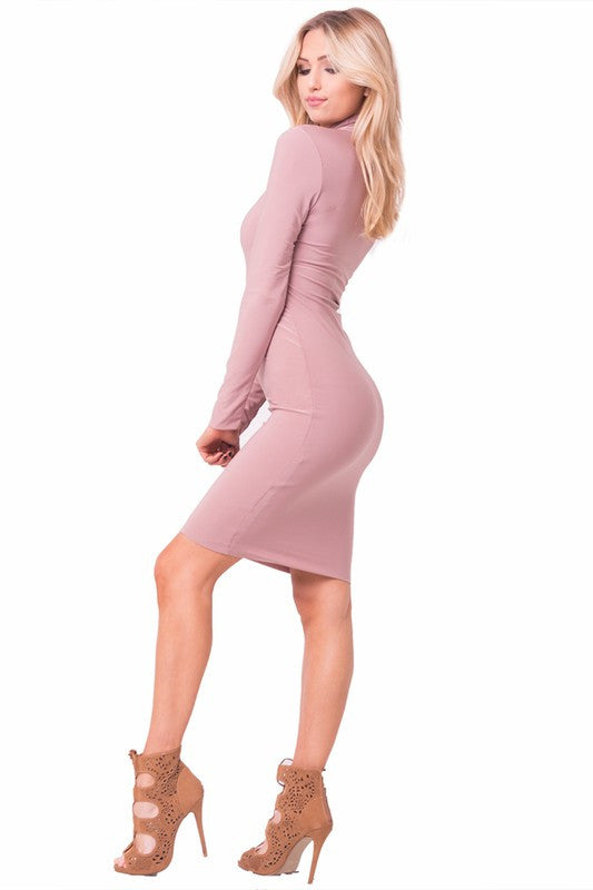 THE MYSTYLEMODE MAUVE ESSENTIAL DOUBLE LINED MOCK NECK MIDI DRESS