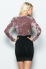 THE MYSTYLEMODE MAUVE CRUSHED VELVET PLUNGING V NECK LONG SLEEVE BODYSUIT