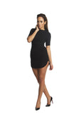 THE MYSTYLEMODE BLACK RIBBED FUNNEL NECK MINI DRESS