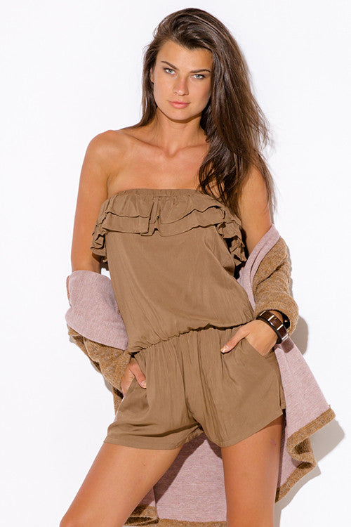 MOCHA KHAKI RUFFLE POCKETED ROMPER JUMPSUIT