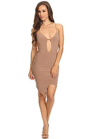 THE MYSTYLEMODE MOCHA DOUBLE LINED PEEKABOO CUTOUT ASYMMETRIC MINI DRESS