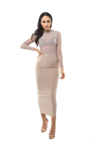 THE MYSTYLEMODE NUDE OVERSIZED SWEATER