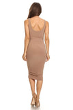 THE MYSTYLEMODE MOCHA ESSENTIAL DOUBLE LINED TANK MIDI DRESS