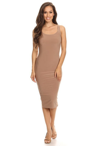 THE MYSTYLEMODE OLIVE RIBBED SPAGHETTI STRAP OPEN BACK MIDI DRESS