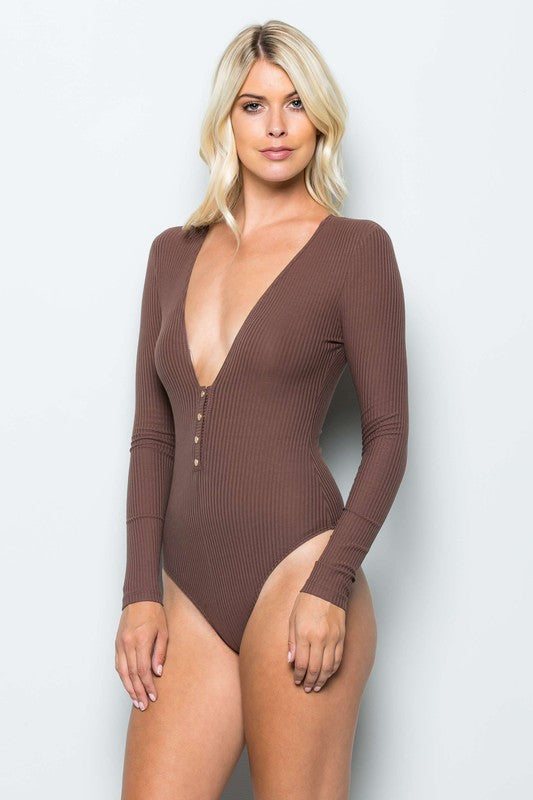 THE MYSTYLEMODE MOCHA RIBBED PLUNGING V NECK LONG SLEEVE BODYSUIT