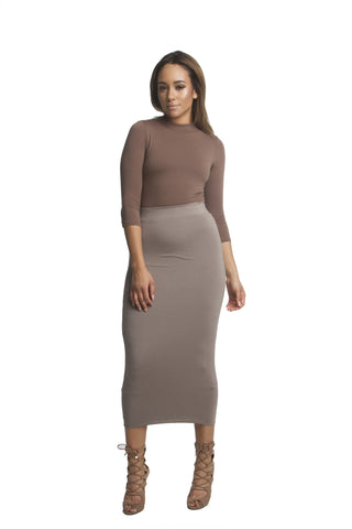 THE MYSTYLEMODE NUDE VELVET LIGHTWEIGHT POCKETED DUSTER