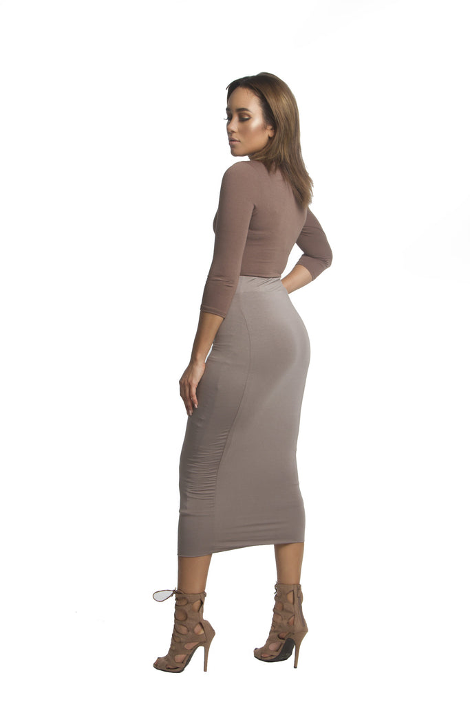 THE MYSTYLEMODE MOCHA DOUBLE LINED STRETCH HIGH WAISTED MIDI SKIRT